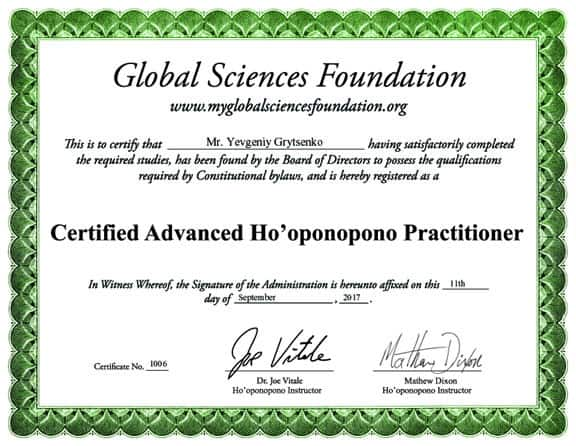Ho'oponopono Certificate