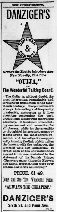 Ouija Board Advertisement